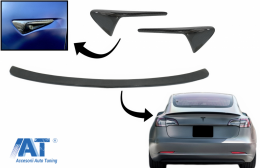 Eleron Portbagaj cu Ornamente Aripi Semnal compatibil cu Tesla Model 3 (2017-up) Carbon Real - CO7404CFM3