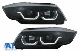 Faruri 3D LED Angel Eyes compatibil cu BMW Seria 3 Limousine E90 Touring E91 (03.2005-08.2008) LHD Negru - HLBME90BLED