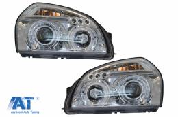 Faruri Angel Eyes compatibil cu Hyundai Tucson (2004-2010) Crom - HLHYTUC