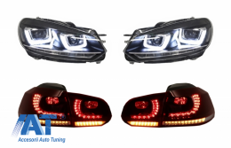 Faruri Chrome si Stopuri Full LED compatibil cu VW Golf 6 VI (2008-up) R20 U Design cu Semnal LED Dinamic - COHLVWG6URU
