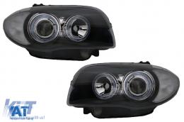 Faruri compatibil cu BMW Seria 1 E87 E81 E82 E88 (2004-2011) Pozitie Angel Eyes Negru - SWB14DB