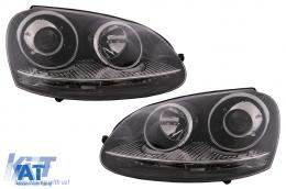 Faruri compatibil cu VW Golf 5 V Mk5 (2003-2007) Jetta (2005-2010)  GTI R32 Design Chrome RHD - HLVWG5GTICRHD