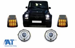 Faruri Crom si Lampi Semnalizare LED compatibil cu MERCEDES G-Class W463 (1989-2012) Bi-Xenon Look - COHLMBW463CTR