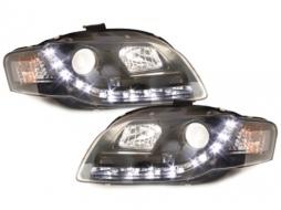 Faruri D-LITE AUDI A4 B7 echipate cu lumina de zi LED negru- - SWA08LGXB