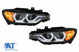 Faruri Full Angel Eyes LED DRL compatibil cu BMW 3 Series F30 F31 Sedan Touring (10.2011-05.2015) Negre - HLBMF30M3