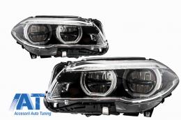 Faruri Full LED Angel Eyes compatibil cu BMW Seria 5 F10 F11 LCI (2014-2017)