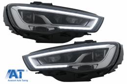 Faruri Full LED compatibil cu Audi A3 8V Pre-Facelift (2013-2016) Upgrade pentru HID/Xenon cu Semnalizare Dinamica Secventiala LHD - HLAUA38VLED