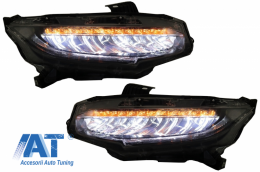 Faruri Full LED compatibil cu HONDA Civic Mk10 (FC/FK) (2016-Up) Sedan & Hatchback Semnalizare Dinamica - HLHOCIFK