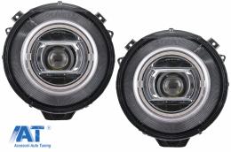 Faruri Full LED compatibil cu MERCEDES G-Class W463 (2005-2017) Crom Facelift 2018 Design cu Dynamic Start Up - HLMBW463NLC