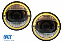 Faruri Full LED CREE DRL compatibil cu JEEP Wrangler JK (2007-2017)  conversie la modelul din 2018 - HLJEWJKLED