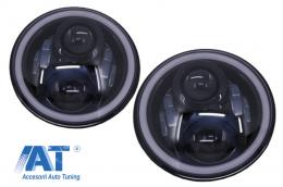 Faruri Full LED CREE Dublu Proiector compatibil cu Jeep Wrangler JK TJ LJ Land Rover Defender Mercedes W463 Negru