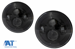 Faruri Full LED CREE Dublu Proiector compatibil cu Jeep Wrangler JK TJ LJ Land ROVER Defender Mercedes W463 Black - HLU7INCHLYA