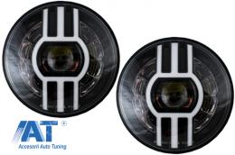 Faruri Full LED CREE Dublu Proiector Jeep Wrangler JK TJ LJ Land compatibil cu ROVER Defender Mercedes W463 Black - HLU7INCHS