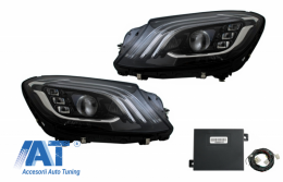Faruri Full LED cu Adaptor Modul Semnalizare Dinamica compatibil cu MERCEDES S-Class W222 Facelift Design OEM - COHLMBW222FLOEMAD