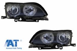 Faruri LED Angel Eyes compatibil cu BMW Seria 3 E46 (09.2001 - 03.2005) Negru - HLBME46