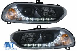 Faruri LED compatibil cu Alfa Romeo 156 (10.1997-06.2003) DAYLIGHT Negru - HLAR156LEDB