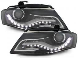Faruri LED compatibil cu AUDI A4 B8 8K (2008-2011) cu Lumini de zi Integrate Negru