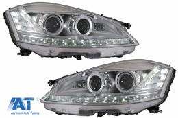 Faruri LED compatibil cu Mercedes Clasa S W221 (2005-2009) Facelift Look Semnalizare Dinamica Secventiala - HLMBW221FW