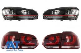 Faruri LED compatibil cu VW Golf 6 VI (2008-2013) Golf 7 U Design With Red Strip GTI LED cu Stopuri LED R20 - COHLVWG6URTLC