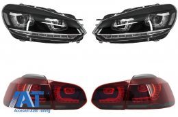 Faruri LED compatibil cu VW Golf 6 VI (2008-2013) Design Golf 7 3D U Design Semnal LED Dinamic cu Stopuri LED R20 - COHLVWG6UTLS