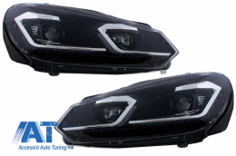 Faruri LED compatibil cu VW Golf 6 VI (2008-2013) Facelift G7.5 Look Silver Semnalizare Secventiala LHD