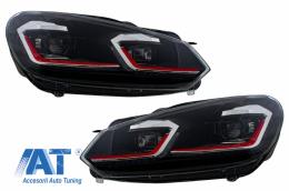 Faruri LED compatibil cu VW Golf 6 VI (2008-2013) Facelift G7.5 GTI Design Rosu Semnalizare Secventiala LHD - HLVWG6FR