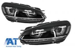Faruri LED compatibil cu VW Golf 6 VI (2008-up) Design Golf 7 3D U Design Semnal LED Dinamic - HLVWG6U