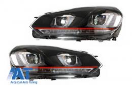 Faruri LED compatibil cu VW Golf 6 VI (2008-up) Golf 7 U Design With Red Strip GTI Semnal LED Dinamic - HLVWG6UR