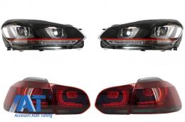 Faruri LED  compatibil cu VW Golf 6 VI (2008-2013) Golf 7 U Design With Red Strip GTI LED dinamic cu Stopuri R20 - COHLVWG6URTLS