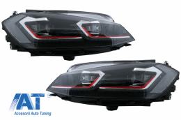 Faruri LED compatibil cu VW Golf 7.5 VII (2017+) GTI Look cu Semnal Dinamic - HLVWG7F75R