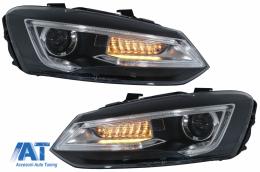 Faruri LED compatibil cu VW Polo MK5 6R 6C 61 (2011-2017) RHD Devil Eye Look - HLVWPOMK6RHD