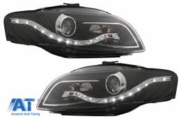 Faruri LED DRL compatibil cu Audi A4 B7 11.2004-03.2008 Negru - SWA08ELGXB