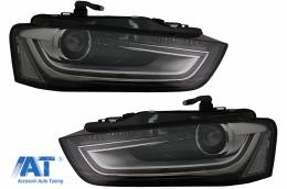 Faruri LED DRL compatibil cu Audi A4 B8.5 Facelift  (2012-2015) Negru - HLAUA4B8F