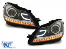 Faruri LED DRL compatibil cu MERCEDES Benz W204 C-class 2011+ Negru