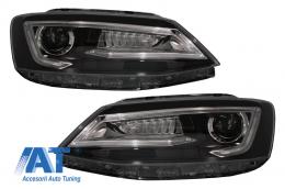 Faruri LED DRL compatibil cu VW Jetta Mk6 VI Non GLI (2011-2017) Semnal Dinamic Secvential Demon  Bi-Xenon Design - HLVWJ6