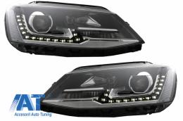 Faruri LED DRL compatibil cu VW Jetta Mk6 VI Non GLI (2011-2017) GTI  Bi-Xenon OE Design