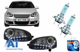 Faruri LED DRL cu Becuri Auto Halogen Cool Blue Intense  compatibil cu VW Golf V 5 Jetta 5 (2003-2009) Negru