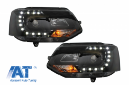 Faruri LED DRL Dayline compatibil cu VW Transporter T5 (2010-2015) Design Negru - HLVWT5B/LPVWK3