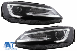 Faruri LED DRL Dual Beam Lens compatibil cu VW Jetta Mk6 VI (2011-2017) RHD Bi-Xenon Design cu Semnal Dinamic Secvential Negru - HLVWJ6RHD