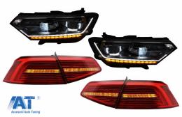 Faruri LED si Stopuri compatibil cu VW Passat B8 3G (2014-2019) Matrix Look R line cu semnal dinamic - COHLVWPA3GLEDTL