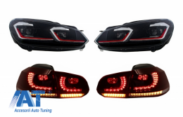 Faruri LED si Stopuri FULL LED compatibil cu VW Golf 6 VI (2008-2013) Facelift G7.5 GTI Design Rosu Semnalizare Secventiala LHD - COHLVWG6FRRCFW