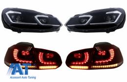 Faruri LED si Stopuri FULL LED compatibil cu VW Golf 6 VI (2008-2013) Facelift G7.5 Look Silver Semnalizare Secventiala LHD - COHLVWG6FSRCFW