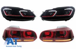 Faruri LED si Stopuri FULL LED compatibil cu VW Golf 6 VI (2008-2013) Facelift G7.5 GTI Design Rosu Semnalizare Secventiala LHD - COHLVWG6FRRSFW