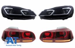 Faruri LED si Stopuri FULL LED compatibil cu VW Golf 6 VI (2008-2013) Facelift G7.5 Look Silver Semnalizare Secventiala LHD - COHLVWG6FSRSFW