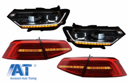 Faruri LED si Stopuri Xenon compatibil cu VW Passat B8 3G (2014-2019) Matrix Look R line cu semnal dinamic - COHLVWPA3GLEDTL