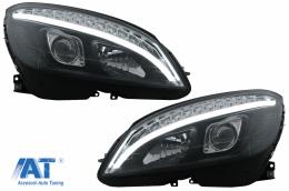 Faruri LED Tube Light compatibil cu Mercedes C-Class W204 S204 (2007-2010) Negru cu Semnal Dinamic - HLMBW204BLED