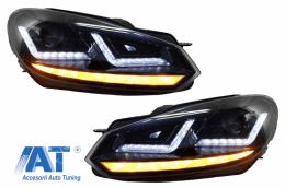 Faruri Osram LED compatibil cu VW Golf 6 VI (2008-2012) Black LEDriving Semnal Dinamic - LEDHL102-BK