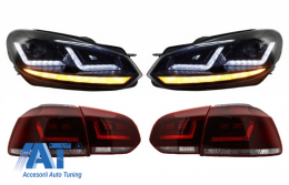 Faruri Osram LED compatibil cu VW Golf 6 VI (2008-2012) cu Stopuri LEDriving Semnal Dinamic - COLEDTL102BK