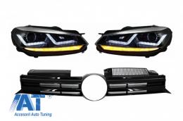 Faruri Osram LED Crom LEDriving Semnal Dinamic Grila Centrala compatibil cu VW Golf 6 VI (2008-2012) R20 Design - COFGVWG6R20CM