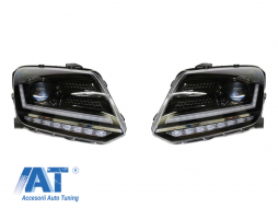 Faruri Osram LED DRL compatibil cu VW Amarok (2010-up) Semnal Dinamic Secvential Negru - LEDHL107-BK